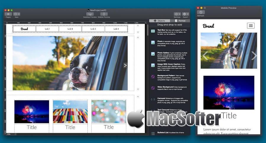 [Mac] Wolf Website Designer : 自适应响应式网页设计网站开发工具