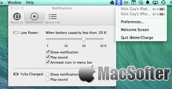 [Mac] iBetterCharge : iPhone/iPad电量低充电提醒及充满电提醒软件
