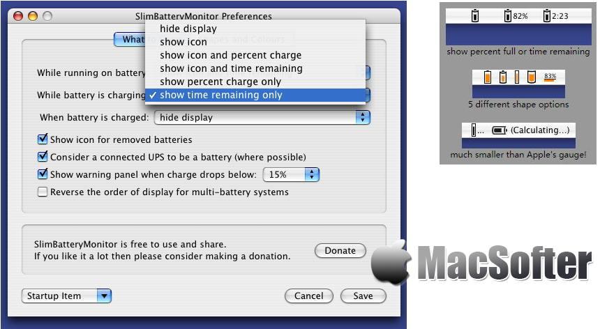 [Mac] SlimBatteryMonitor : 电池剩余电量检测及剩余运行时长估算软件