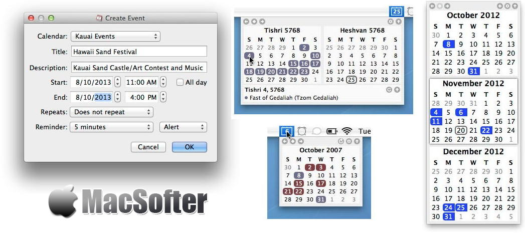 [Mac] TinyCal : 菜单栏的Google/Apple日历软件