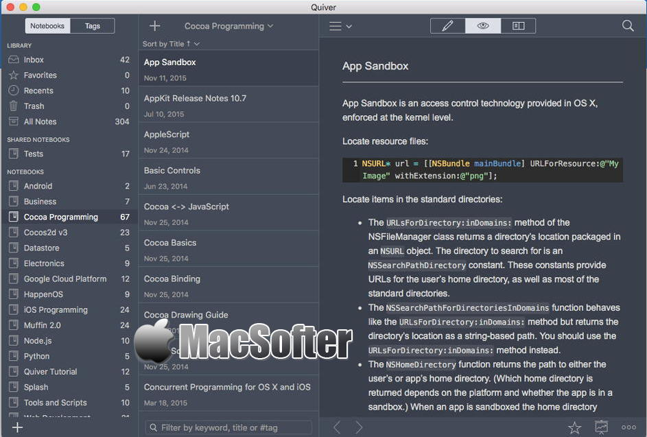 [Mac] Quiver : 专为程序员打造的笔记软件