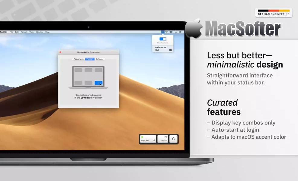 [Mac] Keystroke Pro : 在屏幕实时显示按键操作的软件