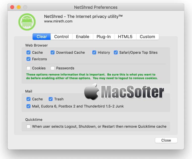 [Mac] NetShred X : 自动彻底清除浏览器缓存和浏览器历史记录的软件