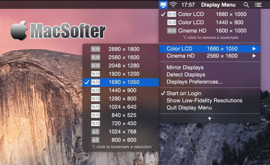 [Mac] Display Menu : 分辨率快速切换设置工具