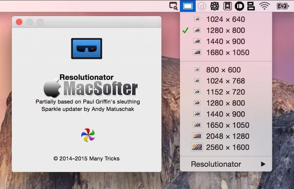 [Mac] Resolutionator : 显示器分辨率快速切换设置工具