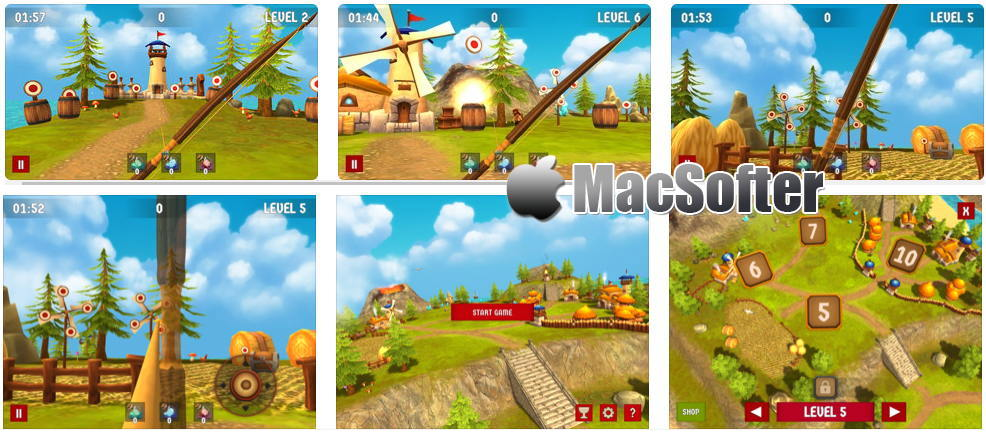 [iPhone/iPad限免] Bow Island : 梦幻可爱画风的射箭游戏