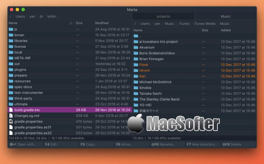 [Mac] Marta : 极简的双栏文件管理器