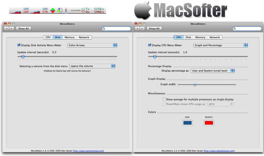 [Mac] MenuMeters : 菜单栏实时CPU/内存/磁盘/网络系统信息监测工具