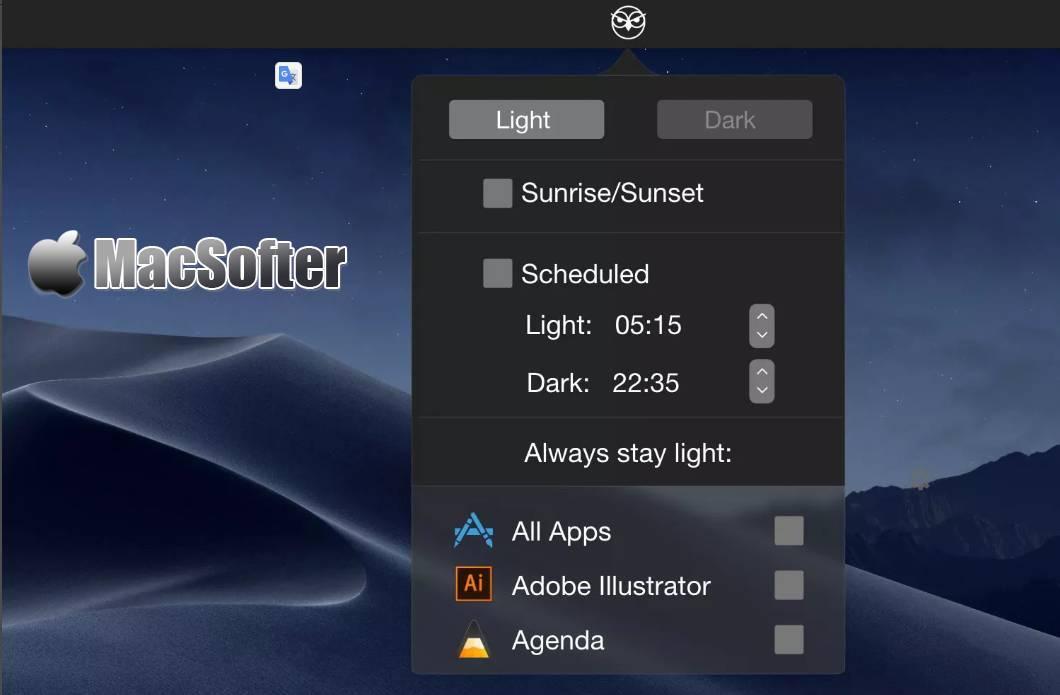 [Mac] NightOwl : 支持自动和手动切换的浅色模式和深色模式切换工具