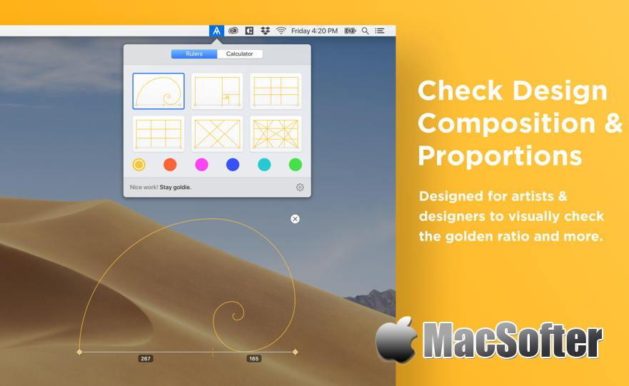 [Mac] Goldie App : 黄金比例快速分析计算工具