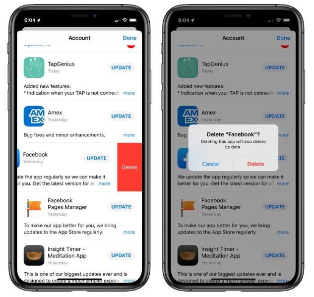 iOS 13/iPadOS可以通过AppStore的更新列表中删除应用程序