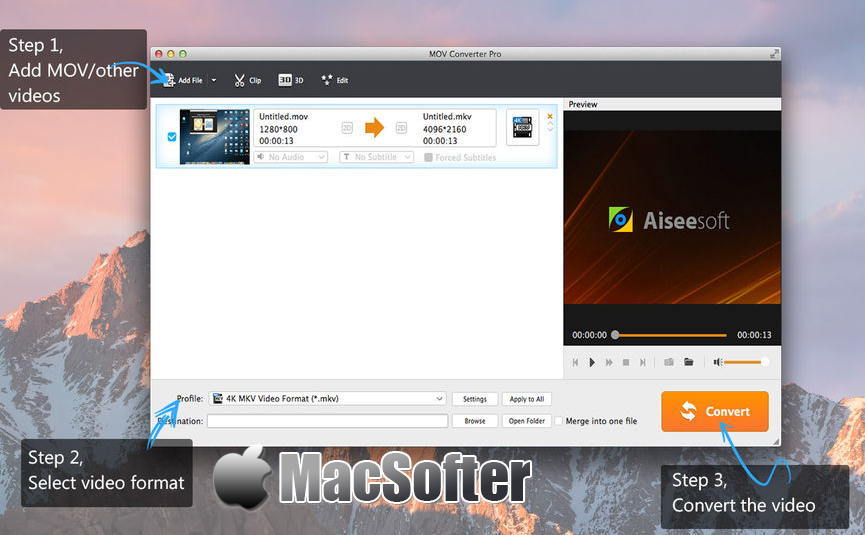 [Mac] MOV Converter Pro : MP4/WMV/FLV/AVI格式与MOV格式互转工具