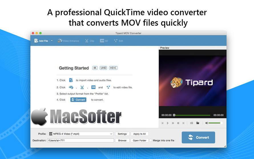 [Mac] Tipard MOV转换器 :专业的视频格式转换器