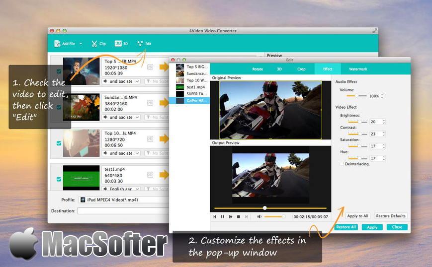 [Mac] 4Video Video Converter :专业全能的视频音频转换器