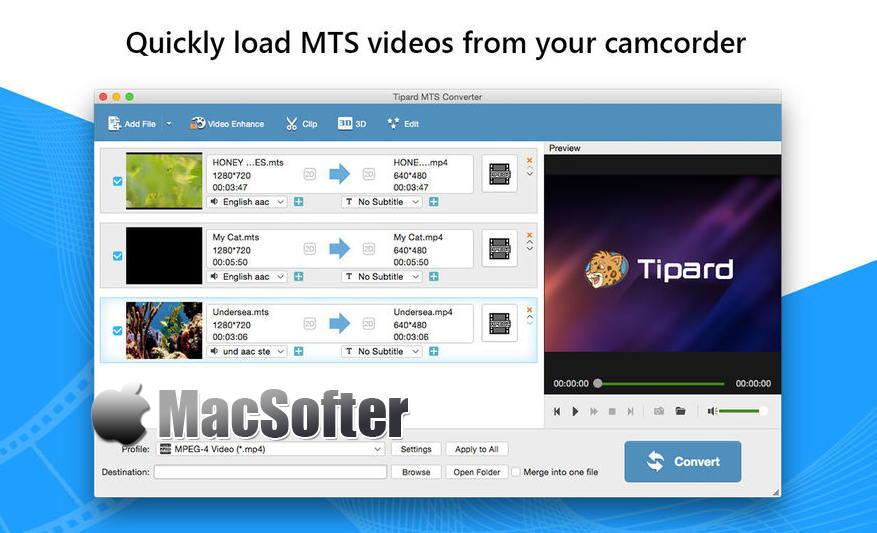 [Mac] Tipard MTS转换器 : 简单易用的MTS视频格式转换器