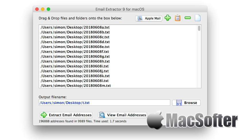 Mac] eMail Address Extractor : 从文本文件中批量提取邮件地址