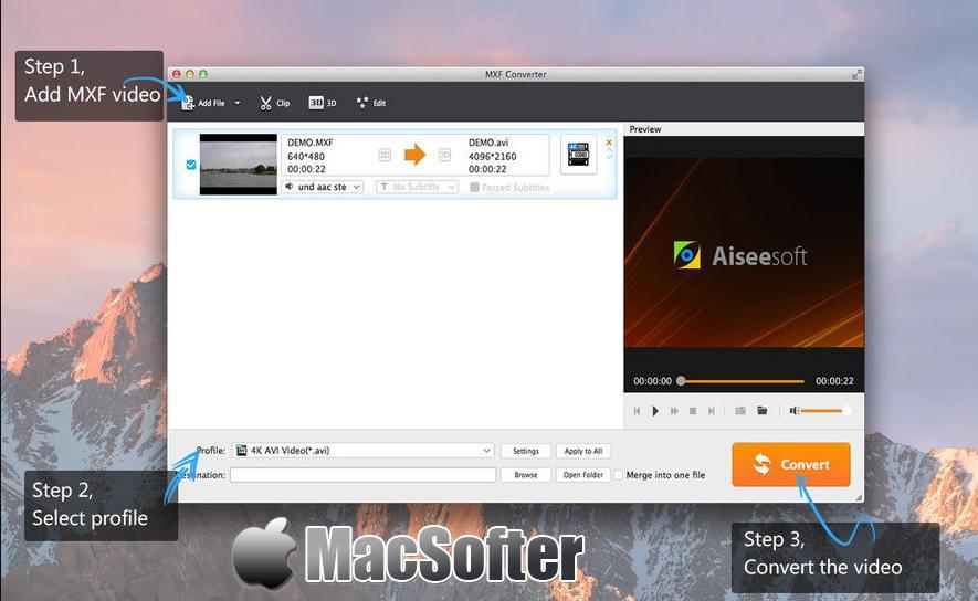 [Mac] Aiseesoft MXF Converter : 好用的MXF视频格式转换器 Mac视频处理 第1张