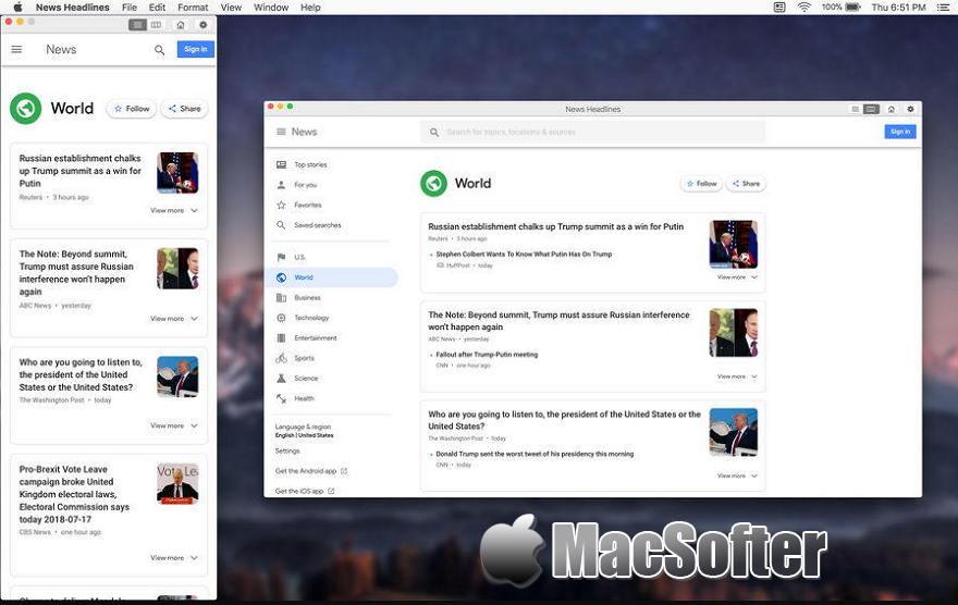 [Mac] 新闻头条: App for Google News - 菜单栏的最新新闻客户端