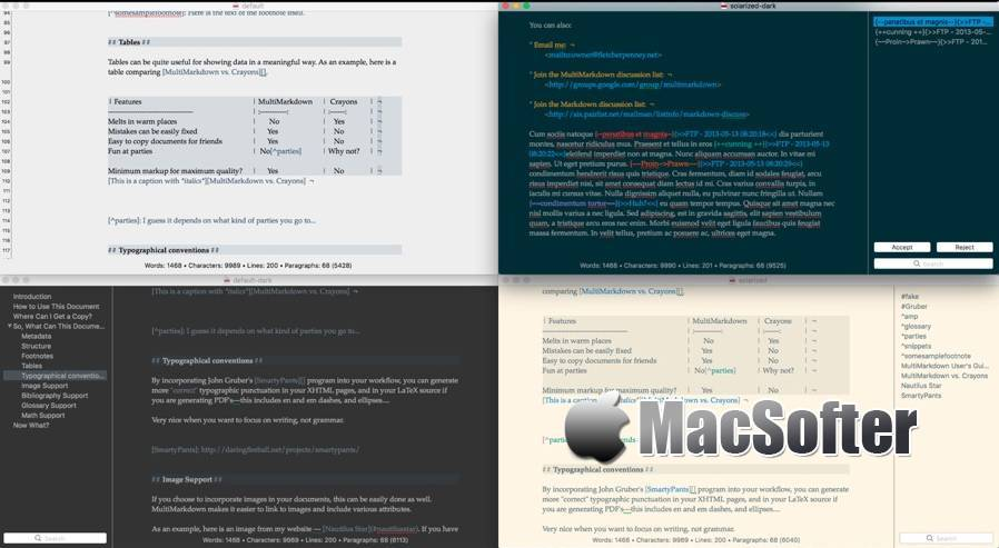 [Mac] MultiMarkdown Composer : Markdown文本编辑器