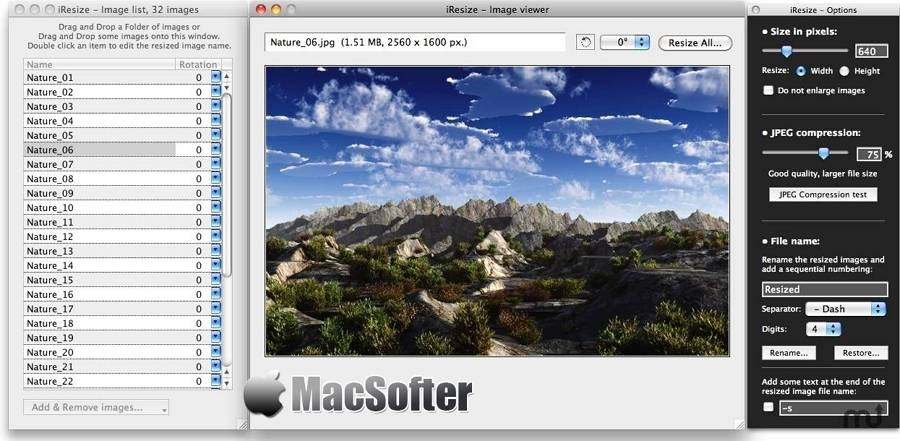 [Mac] iResize : 批量调整图片大小和压缩图片的软件