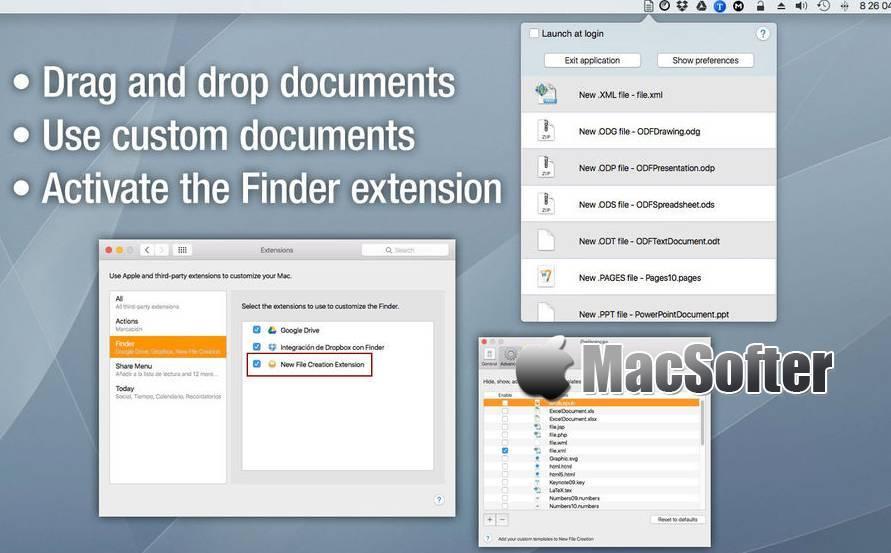 [Mac] New File Creation : 支持多种文件格式的快速新建文件的工具