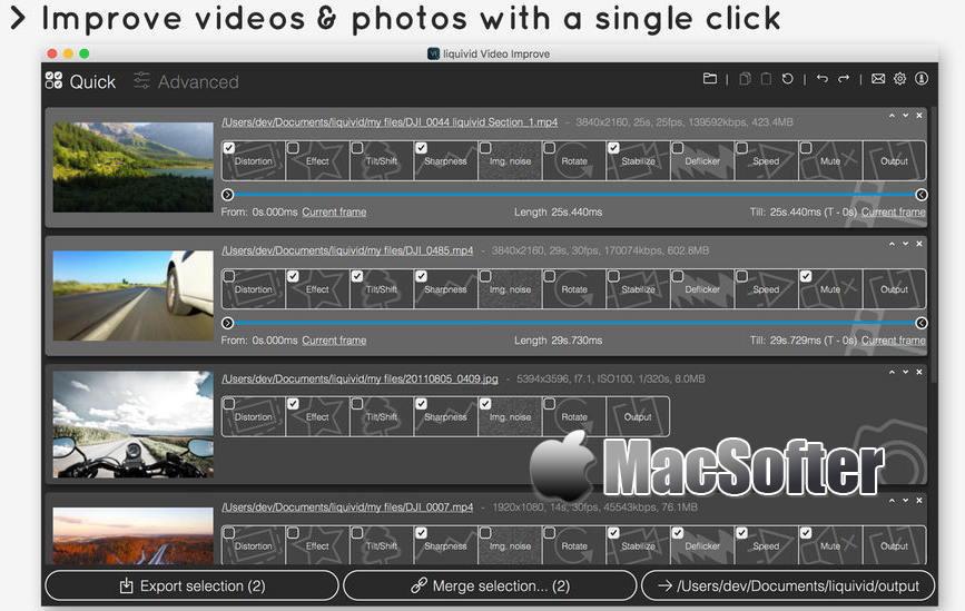 [Mac] liquivid Video Improve : 照片视频画面鱼眼矫正软件