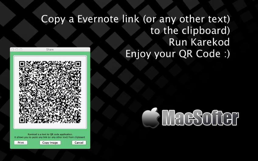 [Mac] Karekod : 将文本及URL链接转换成二维码的软件