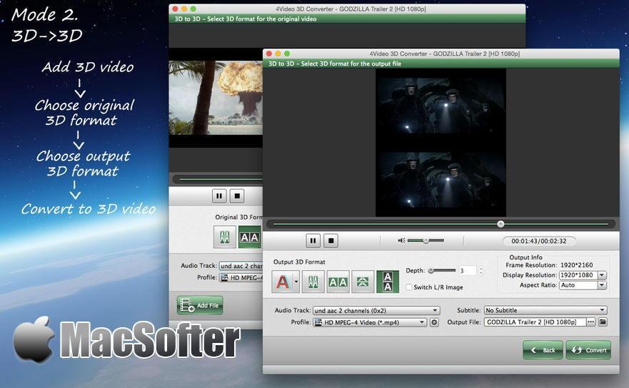 [Mac] 4Video 3D Converter : 2D视频转3D视频转换工具