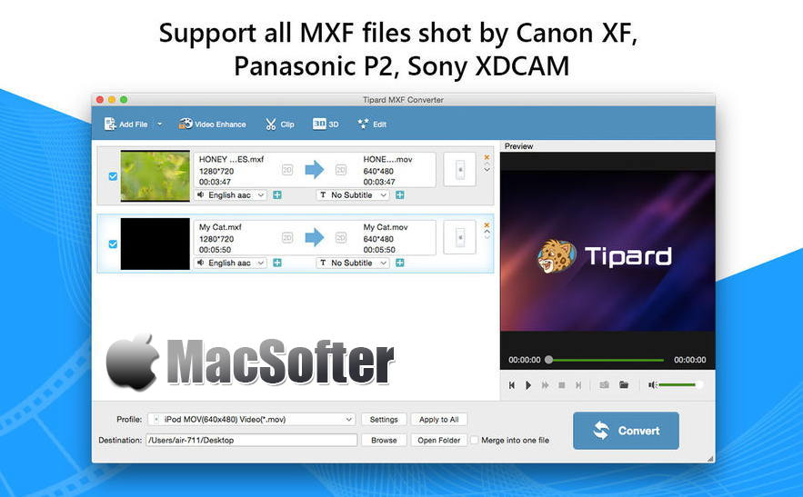[Mac] Tipard MXF Converter : MXF格式转换器