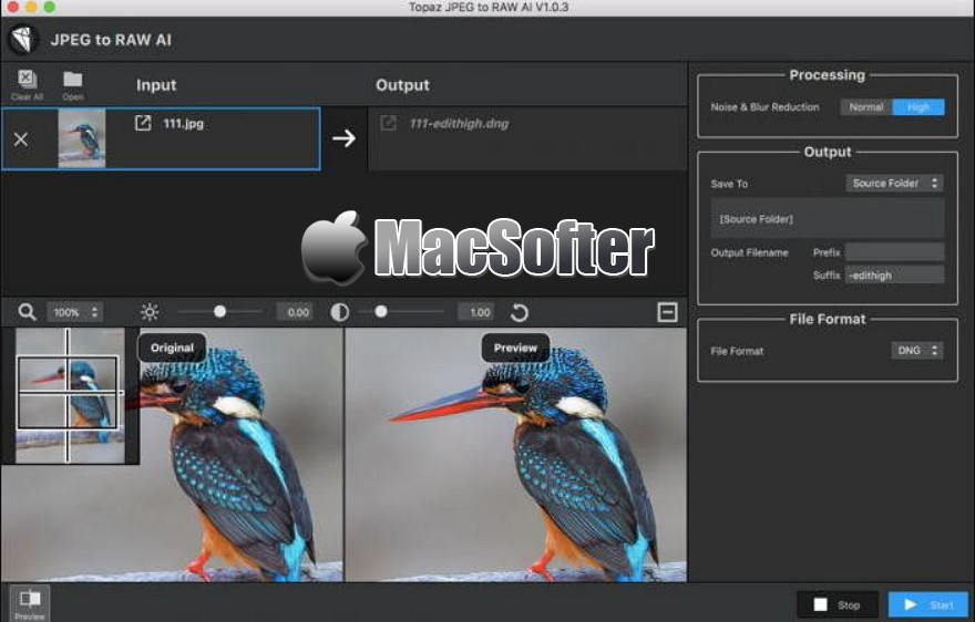 [Mac] Topaz JPEG to RAW AI : JPEG转高质量RAW图像格式转换软件