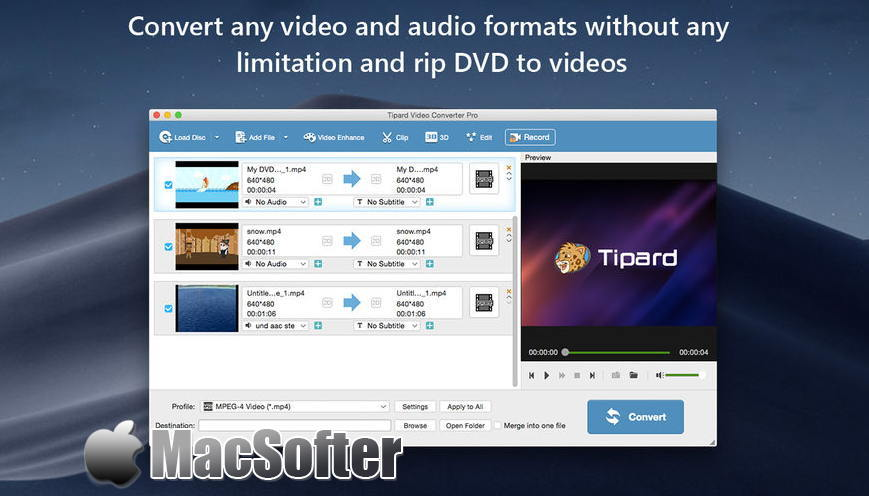 [Mac] Tipard Video Converter Pro : 全能视频格式转换工具