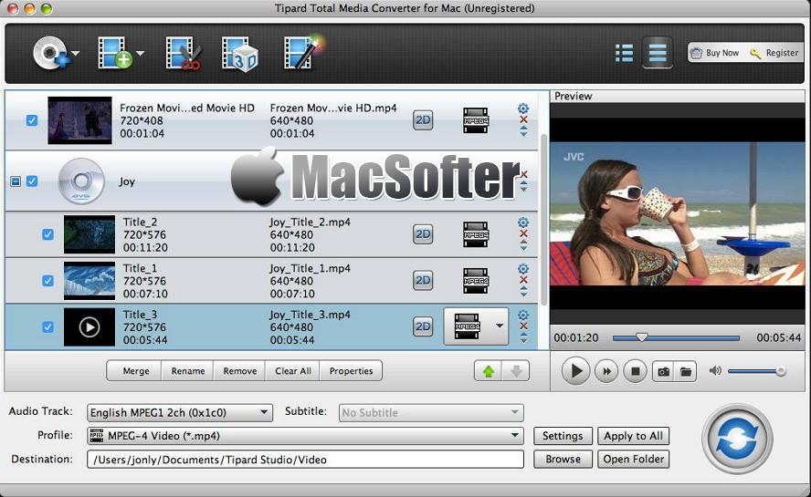 [Mac] Tipard Total Media Converter : 万能视频格式转换器
