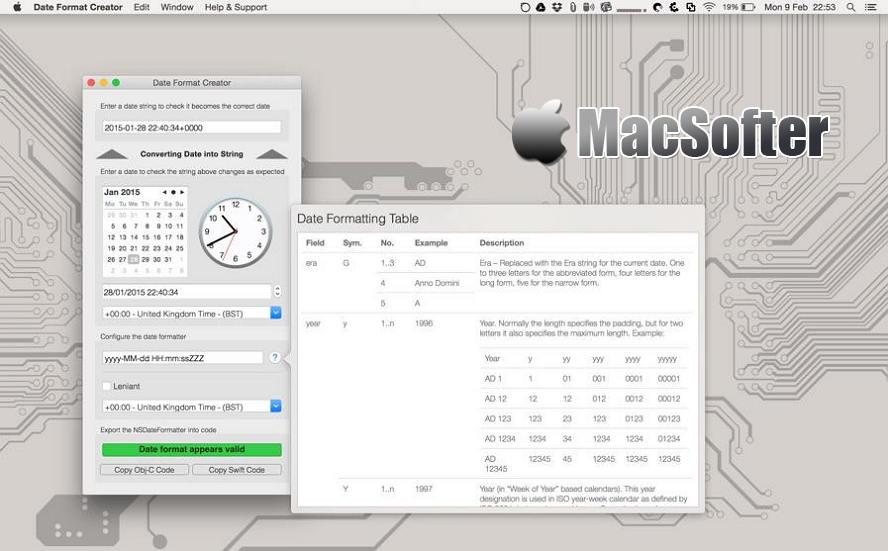 [Mac] Date Format Creator :方便的日期格式创建工具 Mac开发工具 第1张