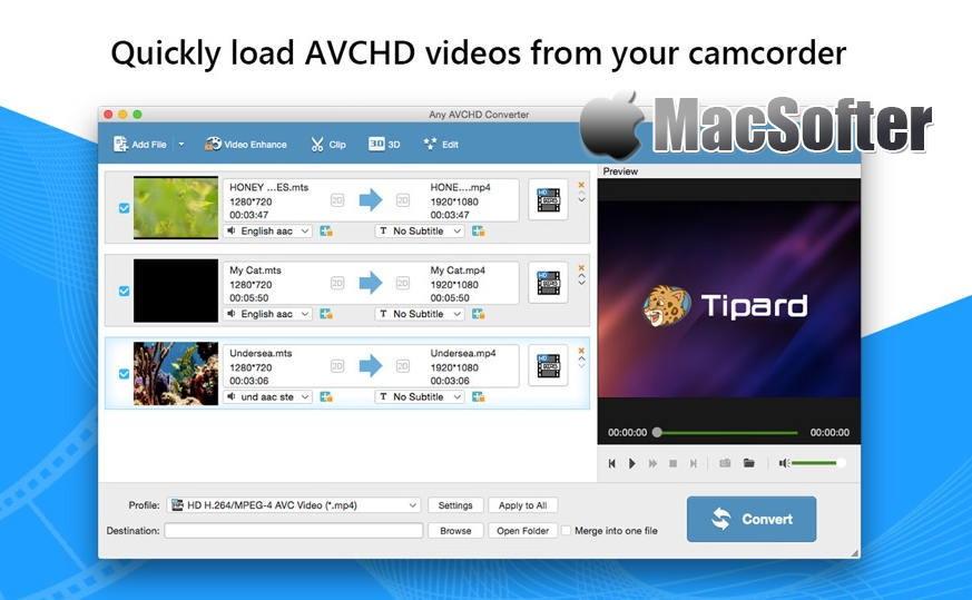[Mac] AVCHD转换器 : 将AVCHD转换为MP4/AVI的视频转换器