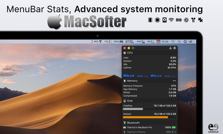[Mac] MenuBar Stats : 菜单栏系统状态监测软件 Mac桌面工具 第1张