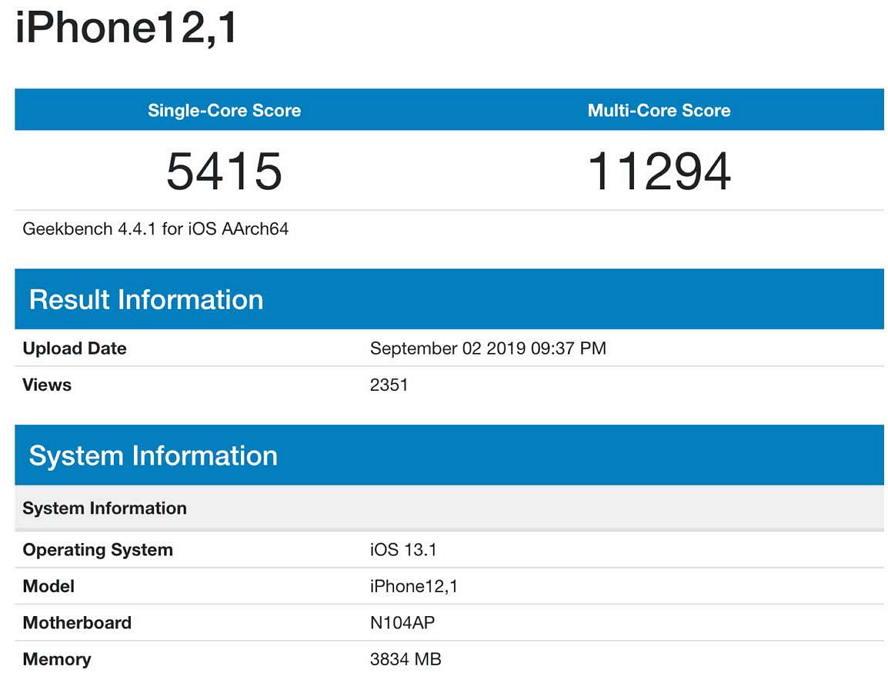 iPhone 11跑分提早曝光 - 新款A13效能提升13% 苹果新闻 第1张