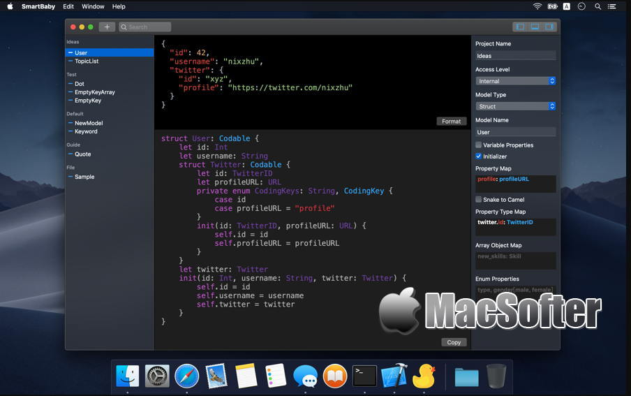 [Mac] SmartBaby : 从 JSON推断Swift Codable模型的开发工具