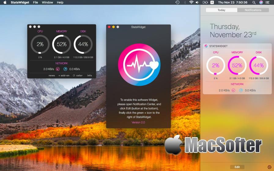 [Mac] StatsWidget : CPU内存等系统信息监控软件 Mac系统优化 第1张