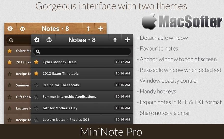 [Mac] MiniNote Pro : 高效方便的笔记软件