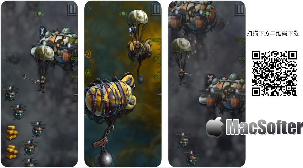 [iPhone/iPad限免] Parashoot Stan : 蒸汽朋克画风的跳伞跑酷游戏 iOS限免 第1张