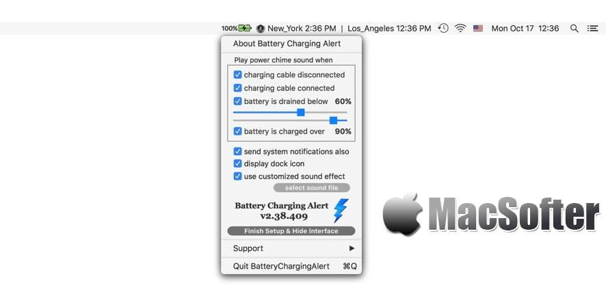 [Mac] Battery Charging Alert : 电池充电提醒软件 Mac辅助工具 第1张