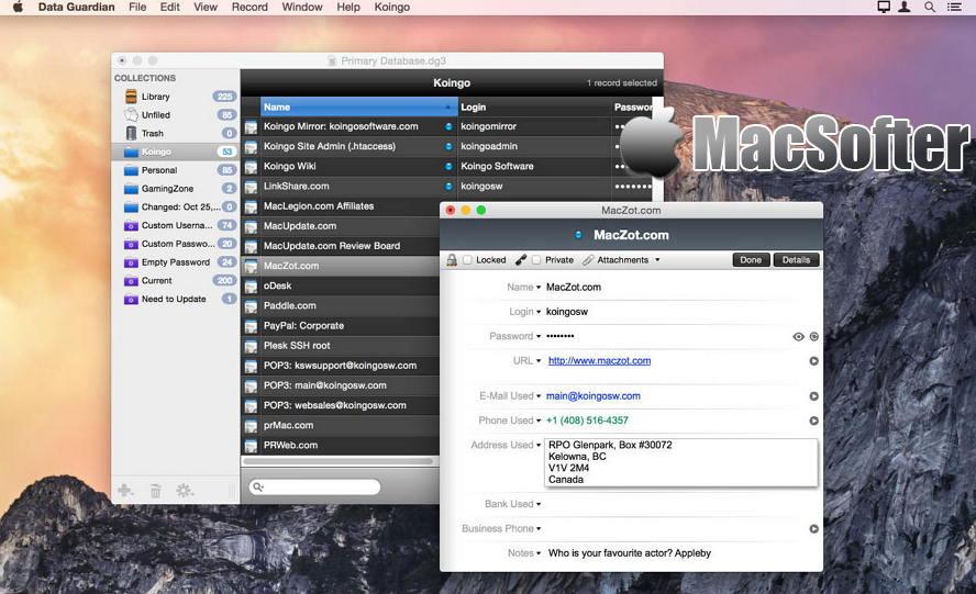 [Mac] Data Guardian : 密码管理软件 Mac辅助工具 第1张