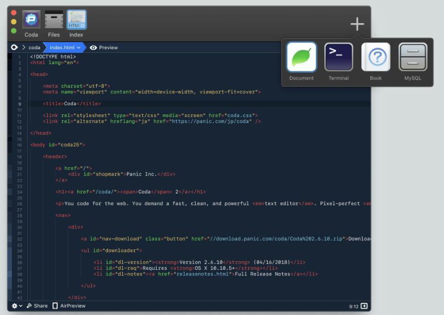 [Mac] Coda : 专业的代码编辑器 Mac开发工具 第1张