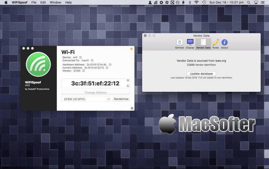 [Mac] WiFiSpoof : 支持更换MAC地址的Wifi网络管理软件 Mac网络工具 第1张