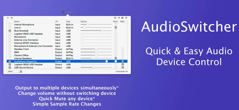 [Mac] AudioSwitcher : 音频源输入输出设备快速切换工具 Mac辅助工具 第1张