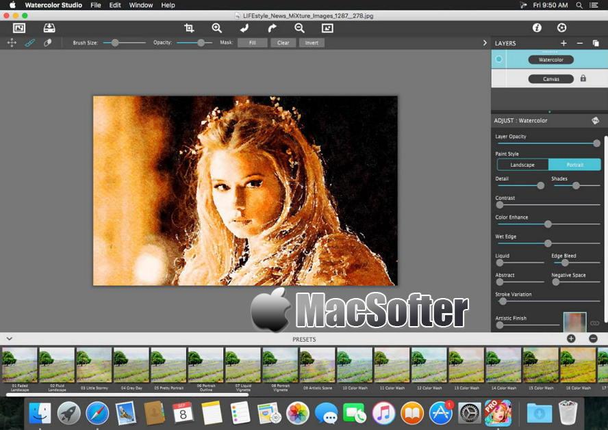 [Mac] Watercolor Studio Pro :照片水彩画特效处理软件