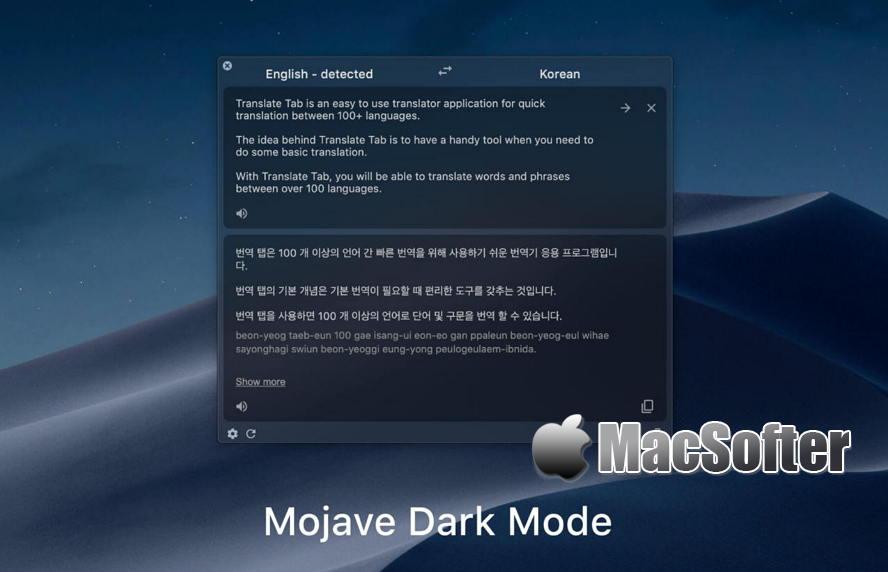[Mac] Translate Tab : 方便快速的翻译软件 Mac桌面工具 第1张