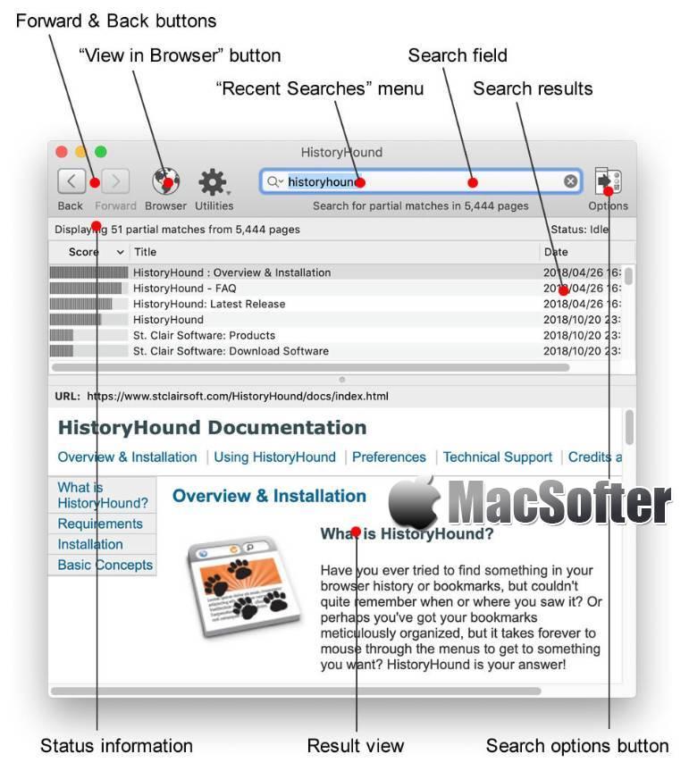 [Mac] HistoryHound : 收藏网页书签及历史浏览网页搜索查找工具 Mac辅助工具 第1张