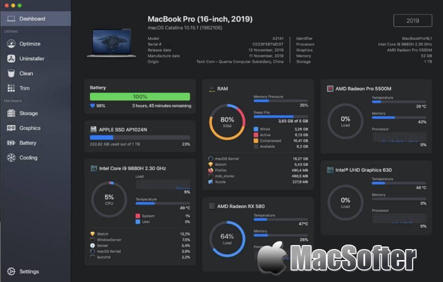 [Mac] Sensei : 系统性能优化及垃圾清理工具