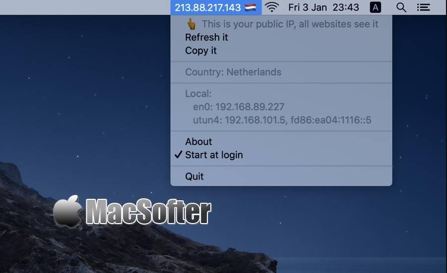 [Mac] Display My IP : 菜单栏显示IP的工具 Mac网络工具 第1张